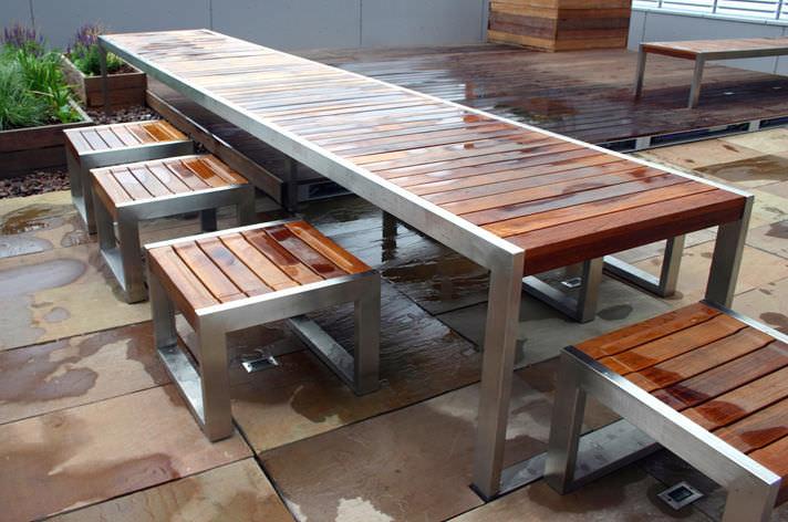 mesa de comedor moderna de madera de acero inoxidable rectangular skop factory street