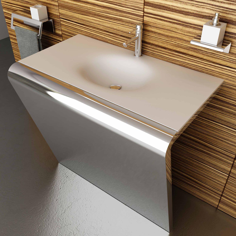 lavabo sobre encimera rectangular de corian acero inoxidable top corian componendo