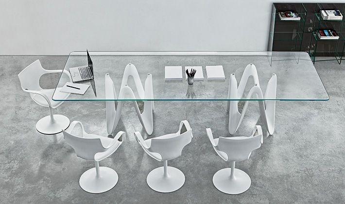 Mesa de comedor / moderna / de vidrio / de roble - LAMBDA by ...