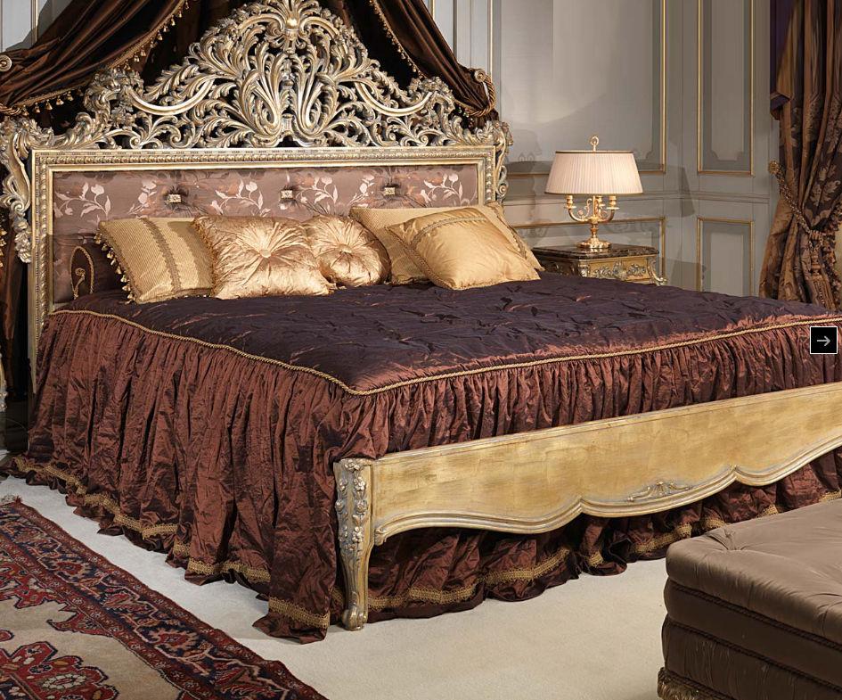 cama estndar doble de estilo luis xv de nogal emperador gold