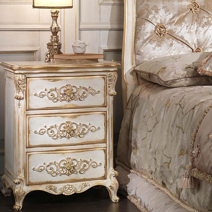 Mesa de noche / de estilo Luis XVI / de madera / rectangular ...
