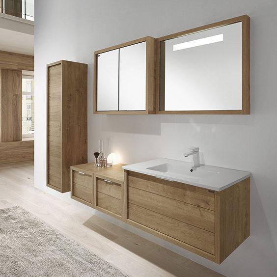 Mueble de lavabo doble / suspendido / de madera / moderno   160 ...