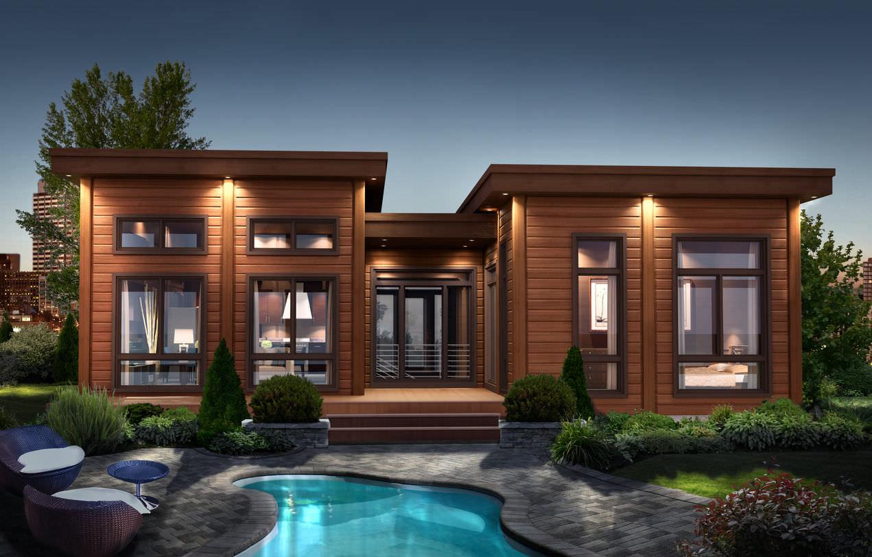 casa prefabricada / de madera maciza apilada / moderna / mob