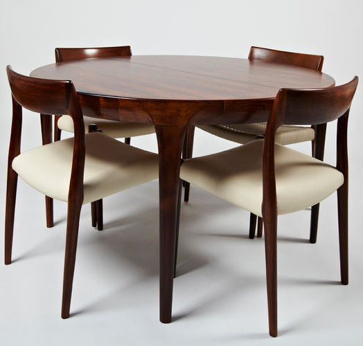 Mesa de comedor de diseño escandinavo / de palo de rosa / redonda ...
