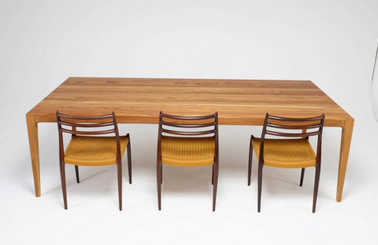 Mesa de comedor / de diseño escandinavo / de teca / rectangular ...