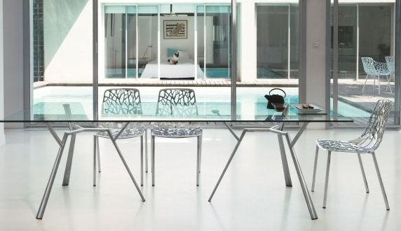 Mesa de comedor moderna / de vidrio / de aluminio fundido ...