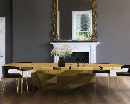 Mesa de comedor de diseño original / de madera / ovalada / dorada ...