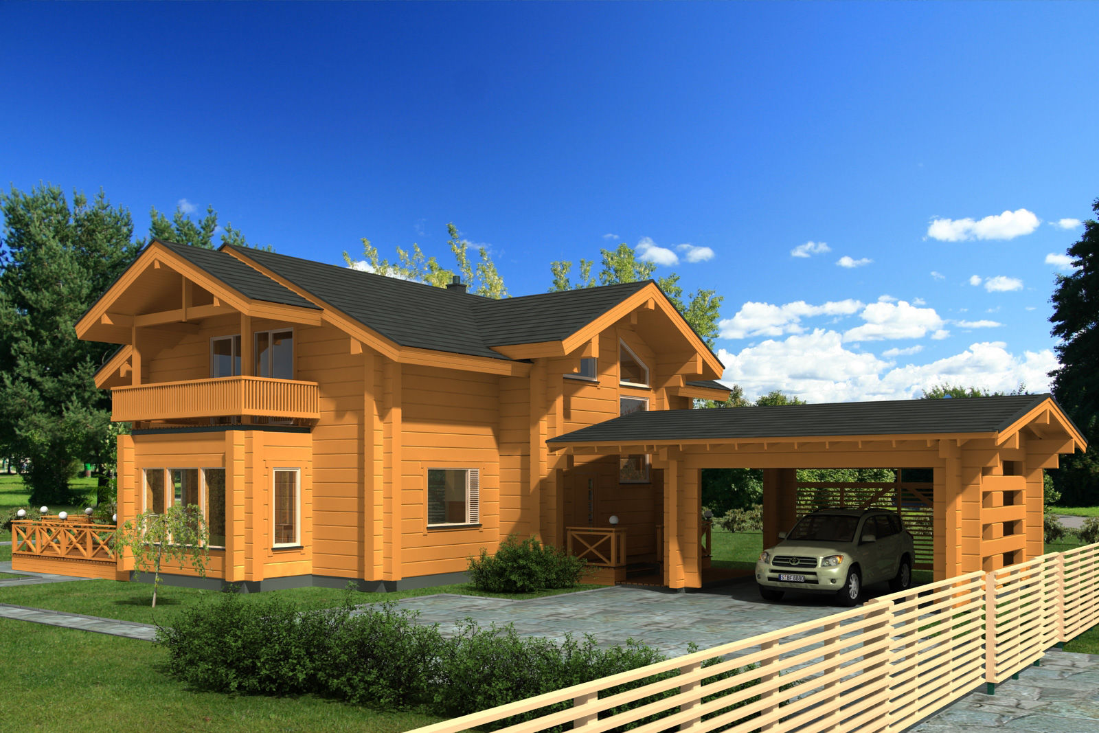 Casa Prefabricada Clasica Con Armazon De Madera De 2 Plantas