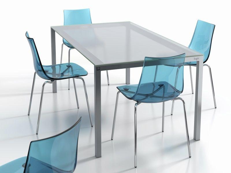 Mesa de comedor moderna / de vidrio / rectangular / 100 % reciclable ...