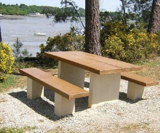 conjunto de mesa y banco moderno de hormign para jardn para espacio pblico angers