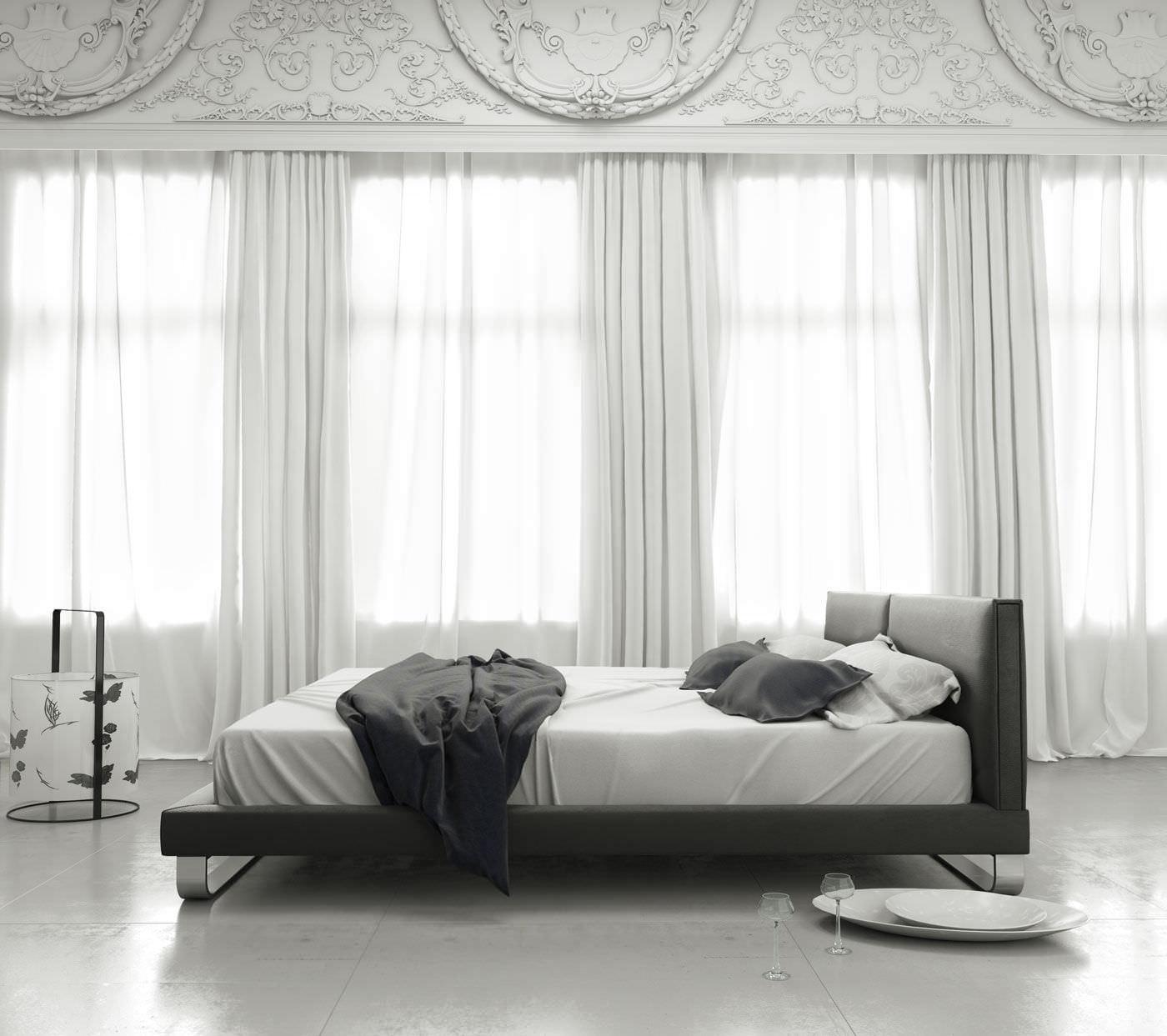Cama estándar / de matrimonio / moderna / con cabecero tapizado ...