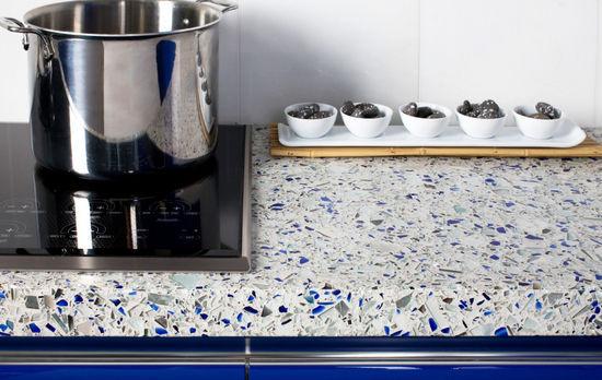 encimera de material compuesto de vidrio para cocina reciclada chilvalry blue