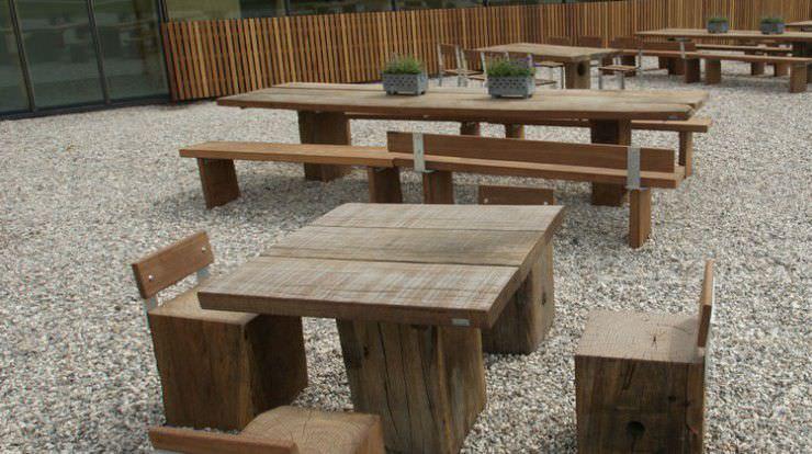 conjunto de mesa y silla moderno de acero de madera para jardn thors