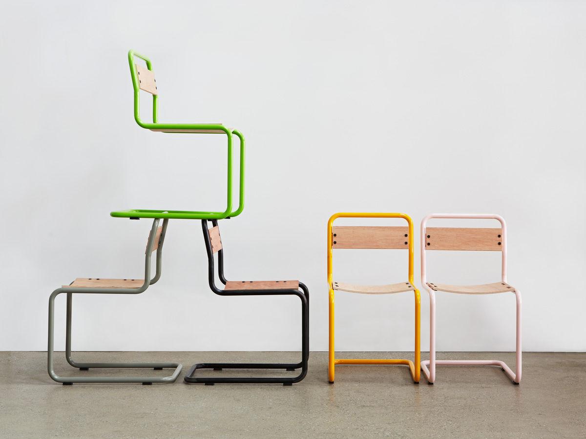 silla de diseo bauhaus de moldeado de metal de madera pipe