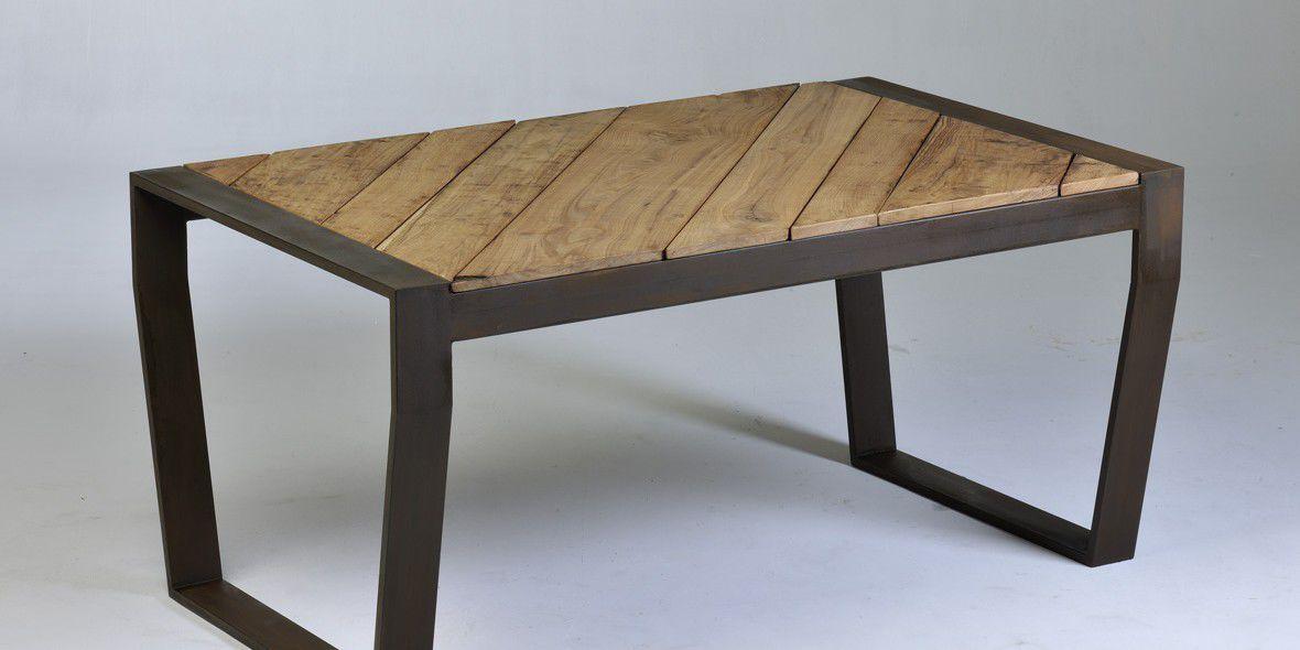 66457ea66851a mesa de comedor moderna   de ipé   de acero Corten   de acero con  revestimiento ...
