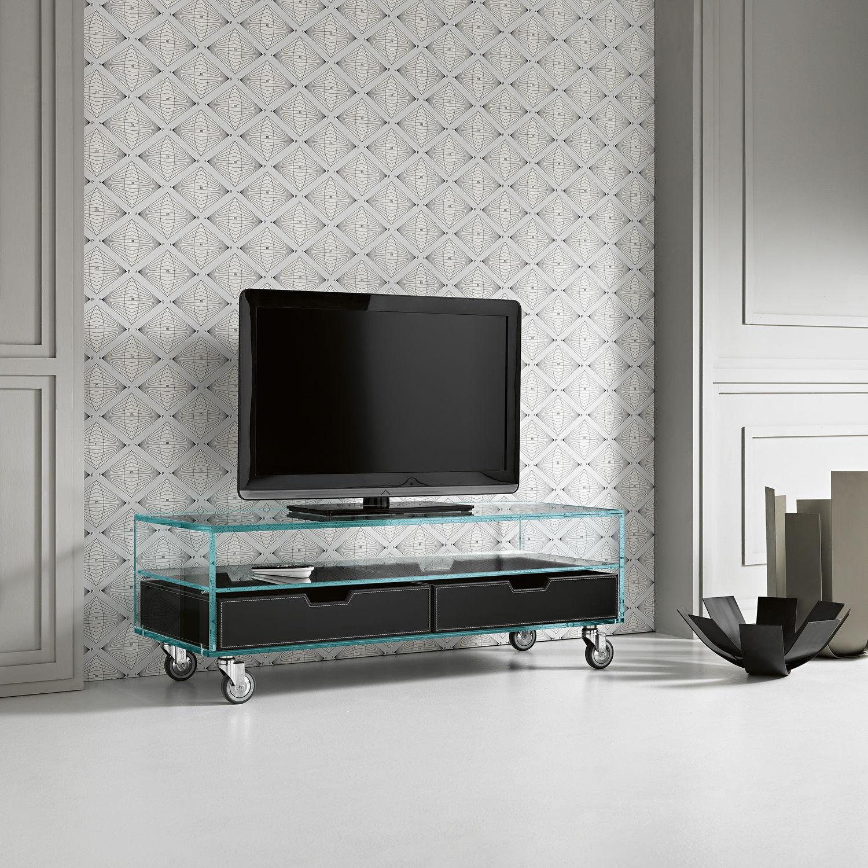 Mueble de televisión de estilo moderno / con ruedas / de vidrio ...