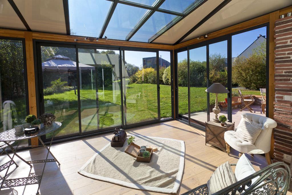 cerramiento de terraza de madera de aluminio clover akena verandas