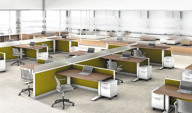 Escritorio para open space / moderno / laminado / de madera ...