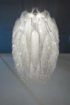 Lámpara araña moderna / de cristal / de acero inoxidable / LED