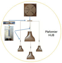 Lámpara suspendida / de diseño original / de madera / de interior