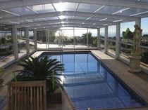 Cubierta para piscina alta / telescópica / de metal / con accionamiento manual