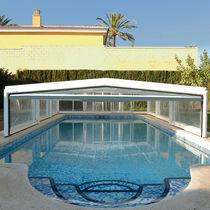 Cubierta para piscina baja / telescópica / de policarbonato / de metal
