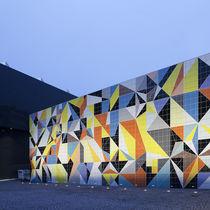 Revestimiento de fachada de cerámica / liso / pulido / de panel
