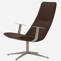 Sillón de oficina moderno / de tejido / de cuero / de aluminio