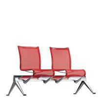 Hileras de sillas de aluminio / de tejido / de cuero / 3 plazas