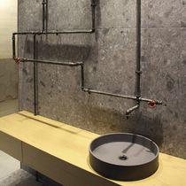 Lavabo sobre encimera / redondo / de hormigón / moderno