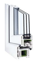 Ventana abatible / de PVC / con vidrio triple / de corte térmico