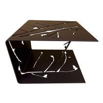 Mesita auxiliar de diseño original / de aluminio / rectangular / de exterior