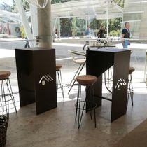Mesa alta moderna / de aluminio termolacado / rectangular / de exterior