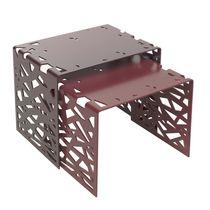 Mesita auxiliar de diseño original / de metal / de aluminio / rectangular
