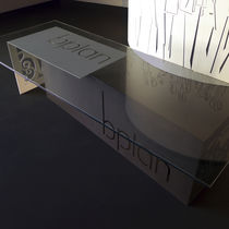 Mesa de conferencia de diseño original / de aluminio lacado / rectangular / para oficina