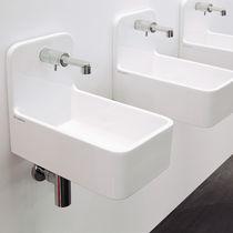 Lavabo suspendido / rectangular / de cerámica / moderno