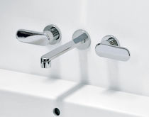 Grifo mezclador para lavabo / de pared / de latón / de metal cromado