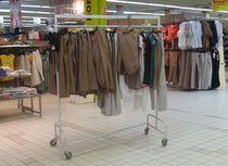 Expositor para ropa / de metal / con ruedas / para comercio