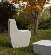 Silla de jardín moderna / de cemento / de hormigón reforzado con fibra