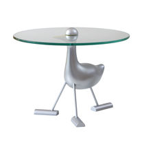Mesa auxiliar / de diseño original / de vidrio / de aluminio