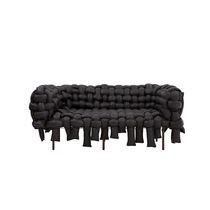 Sofá de diseño original / de tela / 3 plazas / negro