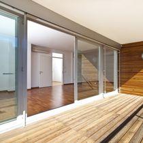 Ventanal corredero / de madera / de aluminio / con vidrio triple