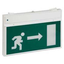 Iluminación de emergencia de techo / rectangular / fluorescente / con pictograma de salida de emergencia
