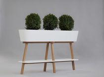 Jardinera de roble / rectangular / moderna / para edificio público