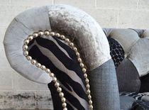 Sillón Chesterfield / de cromo / de tejido / con ruedas