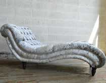 Chaise longue Chesterfield / de tela / de madera / de interior