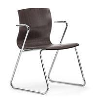 Silla moderna / de contrachapado moldeado / de haya / de metal