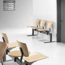Hileras de sillas de metal / de contrachapado / de haya / 3 plazas