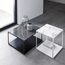 Mesita auxiliar moderna / de metal / de cerámica / rectangular