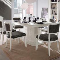 Mesa de comedor clásica / de madera lacada / rectangular / blanca